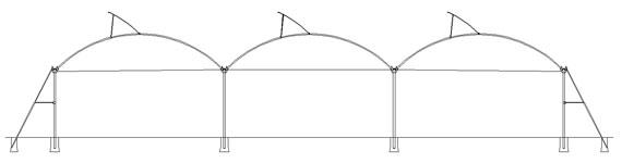 invernadero multicapilla ligero estructura