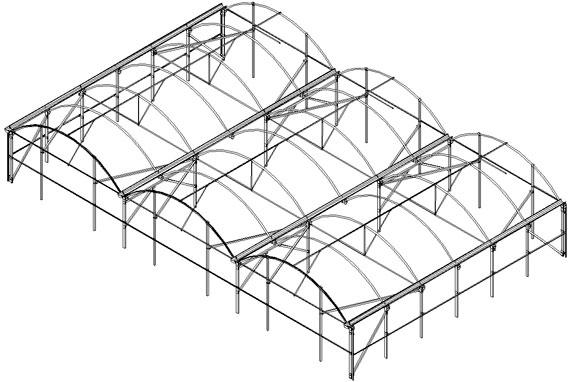 invernadero multicapilla romanico estructura